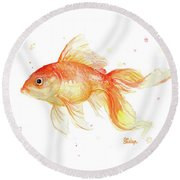 Goldfish Painting Watercolor Round Beach Towel by Olga Shvartsur