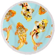 Goldfish Round Beach Towel by Uma Gokhale