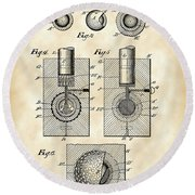 Golf Ball Patent 1902 - Vintage Round Beach Towel by Stephen Younts