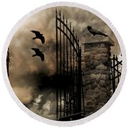 Gothic Surreal Fantasy Ravens Gated Fence  Round Beach Towel by Kathy Fornal