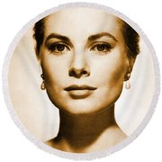 Grace Kelly Round Beach Towel by Opulent Creations