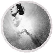 Grace Kelly Sketch Round Beach Towel by Quim Abella
