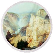 Grand Canyon Of The Yellowstone Park Round Beach Towel by Thomas Moran