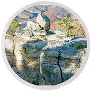 Round Beach Towel featuring the photograph Grand Canyon Rock Formations, Arizona by A Gurmankin