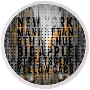 Graphic Art Nyc 5th Avenue Yellow Cabs - Typography And Splashes Round Beach Towel by Melanie Viola