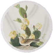 Grass Finch Or Bay Winged Bunting Round Beach Towel by John James Audubon