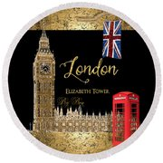 Great Cities London - Big Ben British Phone Booth Round Beach Towel by Audrey Jeanne Roberts