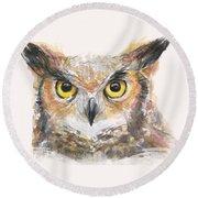 Great Horned Owl Watercolor Round Beach Towel by Olga Shvartsur