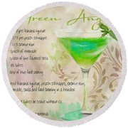 Green Angel Mixed Cocktail Recipe Sign Round Beach Towel by Mindy Sommers