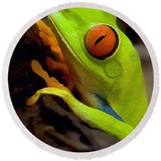 Green Tree Frog Round Beach Towel by Sharon Foster