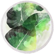 Green Tropical Round Beach Towel by Mark Ashkenazi