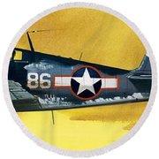 Grumman F6f-3 Hellcat Round Beach Towel by Wilf Hardy