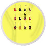 Guitar Icons No1 Round Beach Towel by Mark Rogan
