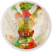 Guitar Siren Round Beach Towel by Nikki Smith