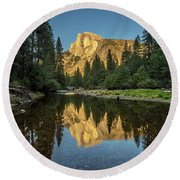 Half Dome From  The Merced Round Beach Towel by Peter Tellone
