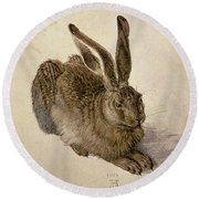 Hare Round Beach Towel by Albrecht Durer