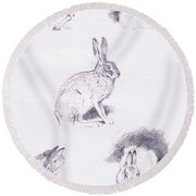 Hare Studies Round Beach Towel by Archibald Thorburn