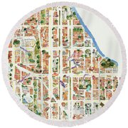 Harlem From 110-155th Streets Round Beach Towel by Afinelyne