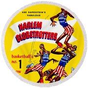 Harlem Globetrotters Vintage Program 32nd Season Round Beach Towel by Big 88 Artworks