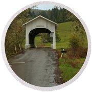 Harris Covered Bridge - Oregon Round Beach Towel by Adam Jewell