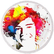 Harry Styles Paint Splatter Round Beach Towel by Dan Sproul
