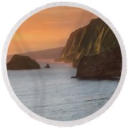 Hawaii Sunrise At The Pololu Valley Lookout 2 Round Beach Towel by Larry Marshall