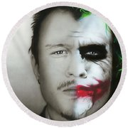 ' Heath Ledger / Joker ' Round Beach Towel by Christian Chapman Art