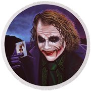 Heath Ledger As The Joker Painting Round Beach Towel by Paul Meijering