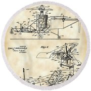 Helicopter Patent 1940 - Vintage Round Beach Towel by Stephen Younts