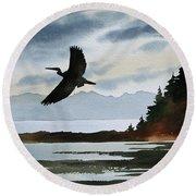 Heron Silhouette Round Beach Towel by James Williamson