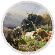 Highland Cattle Round Beach Towel by William Watson