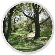 Round Beach Towel featuring the photograph Hill 60 Cratered Landscape by Travel Pics