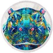 Hippopotamus Art - Happy Hippo - By Sharon Cummings Round Beach Towel by Sharon Cummings