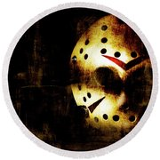 Hockey Mask Horror Round Beach Towel by Jorgo Photography - Wall Art Gallery