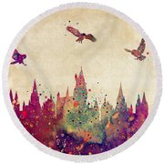 Hogwarts Castle Watercolor Art Print Round Beach Towel by Svetla Tancheva