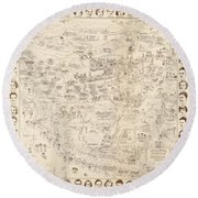 Hollywood Map To The Stars 1937 Round Beach Towel by Don Boggs