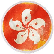 Hong Kong China Flag Round Beach Towel by Setsiri Silapasuwanchai