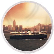 Hong Kong Harbour 01 Round Beach Towel by Pixel  Chimp