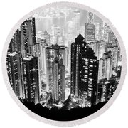 Hong Kong Nightscape Round Beach Towel by Joseph Westrupp