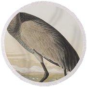 Hooping Crane Round Beach Towel by John James Audubon