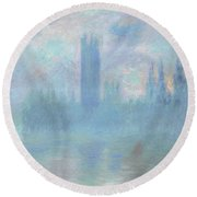 Houses Of Parliament  London Round Beach Towel by Claude Monet