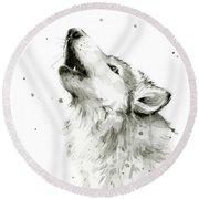 Howling Wolf Watercolor Round Beach Towel by Olga Shvartsur