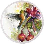 Hummingbird And Fuchsia Round Beach Towel by Olga Shvartsur