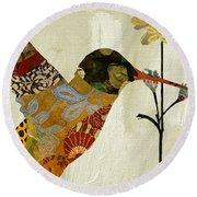 Hummingbird Brocade IIi Round Beach Towel by Mindy Sommers