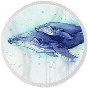 Humpback Whale Mom And Baby Watercolor Round Beach Towel by Olga Shvartsur