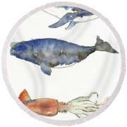 Humpback Whale, Right Whale And Squid Round Beach Towel by Juan Bosco