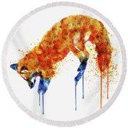 Hunting Fox  Round Beach Towel by Marian Voicu