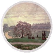 Hyde Park Round Beach Towel by Claude Monet