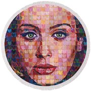 I Heart Adele - 25 Album Round Beach Towel by Randal Huiskens