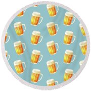 Ice Cold Beer Pattern Round Beach Towel by Little Bunny Sunshine